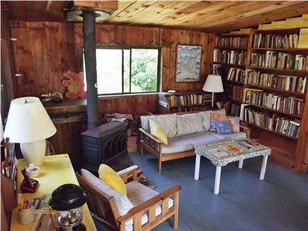 Chappaquiddick - Wasque Martha's Vineyard vacation rental - Living room with wood stove.