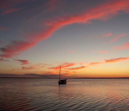 Chappaquiddick - Wasque Martha's Vineyard vacation rental - Sunset, Katama Bay. Enjoy it (& stars) from the upstairs deck.