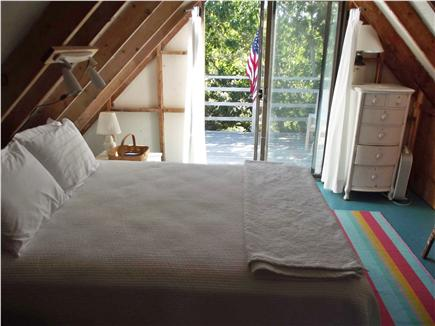 Chappaquiddick - Wasque Martha's Vineyard vacation rental - Master bedroom opens on to upper deck with water views.