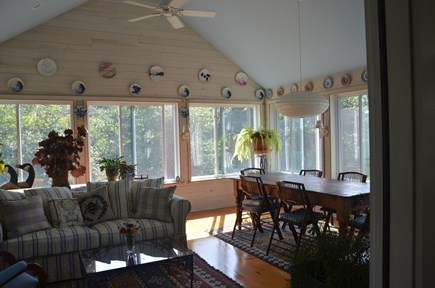 Chilmark - off Meetinghouse Rd Martha's Vineyard vacation rental - Sunporch. Windows open to screens. Ceiling fan too