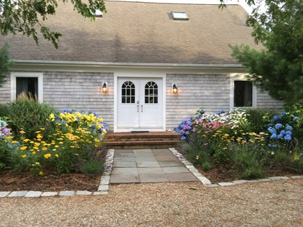 Katama - Edgartown Martha's Vineyard vacation rental - Perennial flower beds by the front door