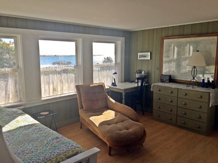 Chappaquiddick Martha's Vineyard vacation rental - Sunroom with view of pond and barrier beach (and daybed)