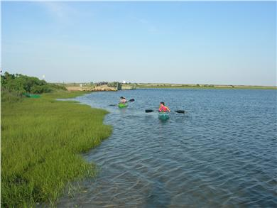 Chappaquiddick Martha's Vineyard vacation rental - Pocha Pond, with Dike Bridge in background, from our little beach
