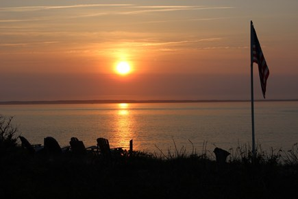 West Tisbury Martha's Vineyard vacation rental - Sunset view from house with viewing deck and flag