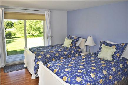 Katama - Edgartown, katama Martha's Vineyard vacation rental - Bright and breezy twin bedroom on lower level with sliders.