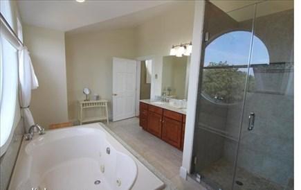 Katama - Edgartown, katama Martha's Vineyard vacation rental - Master Bath with large walk in shower (window has shade!)