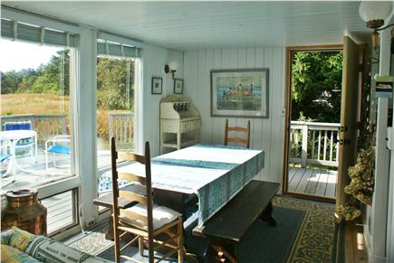 Oak Bluffs, Waterview Farm Martha's Vineyard vacation rental - Dining alcove showing door and window to porch