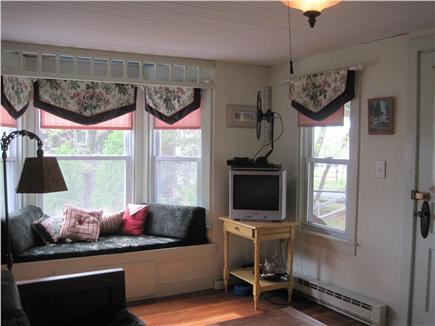 Oak Bluffs Martha's Vineyard vacation rental - Living Room with bow window seat & flat screen tv