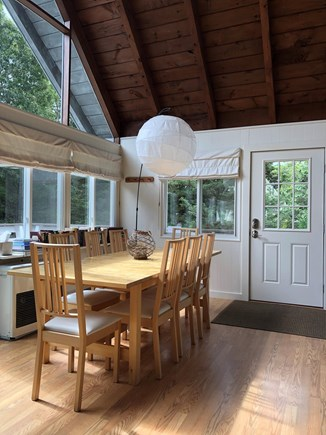 Oak Bluffs Martha's Vineyard vacation rental - Rustic wood ceilings in the open dining/living area