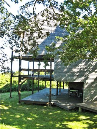 Chilmark Martha's Vineyard vacation rental - House has decks on three levels, all with views of ocean.