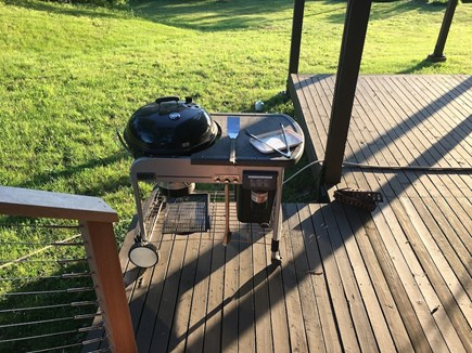 Chilmark Martha's Vineyard vacation rental - Cooking dinner on outdoor grill.
