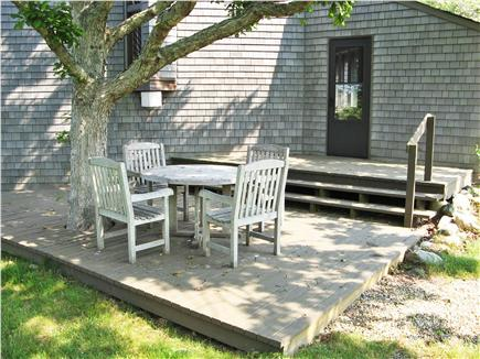 Chilmark Martha's Vineyard vacation rental - Entry level deck with nice spot for breakfast under the tree.