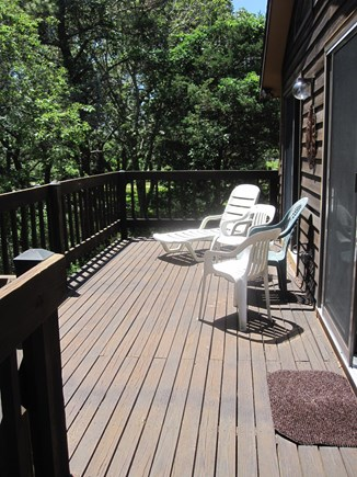 Chappaquiddick Martha's Vineyard vacation rental - top level deck with stairs to access the ground level.
