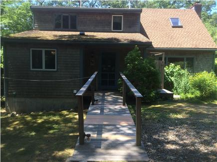 West Tisbury, Lambert's Cove  Martha's Vineyard vacation rental - Back view of house: ramp, outdoor shower, parking