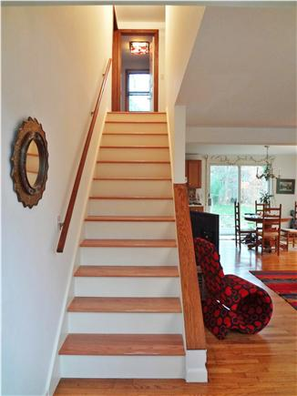 Oak Bluffs Martha's Vineyard vacation rental - Stairs leading up to second floor and upstairs bathroom