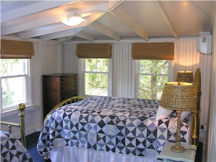 Oak Bluffs Martha's Vineyard vacation rental - Blue Bedroom - brass queen bed