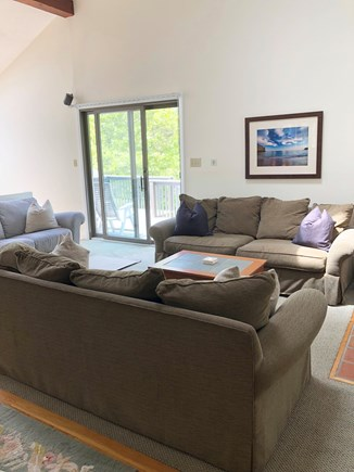 Katama - Edgartown Martha's Vineyard vacation rental - Main Living Room: Spacious & bright, TV over Fireplace