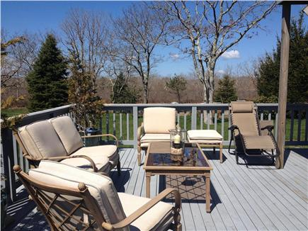 Edgartown Martha's Vineyard vacation rental - Back deck that is reached through sliding doors from eating area