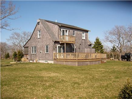 Edgartown Martha's Vineyard vacation rental - Back view with upper and lower decks