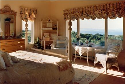 Aquinnah Martha's Vineyard vacation rental - Master Bedroom with queen bed, water views and en suite bathroom