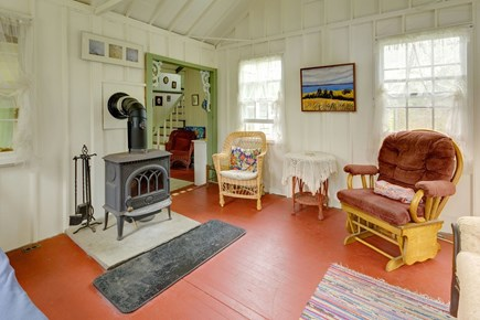 Oak Bluffs Martha's Vineyard vacation rental - Our cozy living room has a sleigh bed and antique furniture.