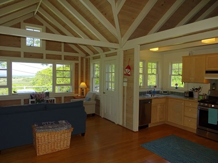 Chilmark Martha's Vineyard vacation rental - Living area opens to kitchen, door to back deck