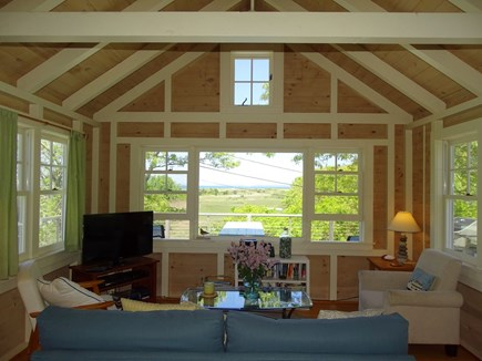 Chilmark Martha's Vineyard vacation rental - Vaulted living room w/ seating, TV and picture window water views