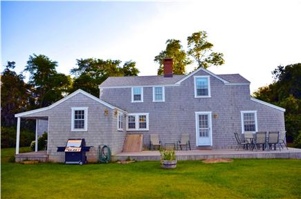 Edgartown Village Martha's Vineyard vacation rental - East facing side of the house with deck and grill