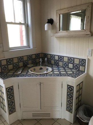 West Tisbury Lambert's Cove Martha's Vineyard vacation rental - Main house Mexican tile first floor bathroom full bath and shower