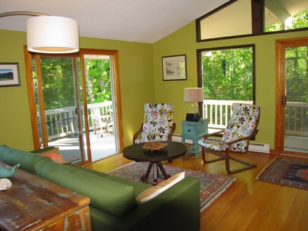 West Tisbury, Longpoint Beach Area Martha's Vineyard vacation rental - Open living areas opens to both open & covered decks