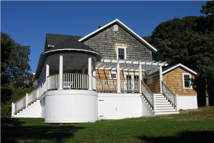 Oak Bluffs, East Chop Martha's Vineyard vacation rental - Side deck and pergola - great afternoon sun