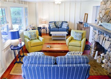 Oak Bluffs, East Chop Martha's Vineyard vacation rental - Large living room with original beach stone fireplace