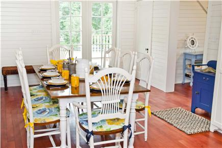 Oak Bluffs, East Chop Martha's Vineyard vacation rental - Farmhouse dining table, double french doors to side deck