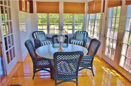 Edgartown Martha's Vineyard vacation rental - Sun room overlooking patio and pool.