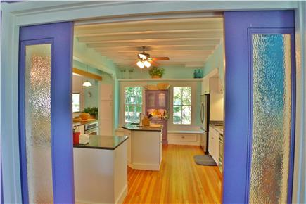 Oak Bluffs Martha's Vineyard vacation rental - View of theKitchen from Dining with lovely pocket glass doors