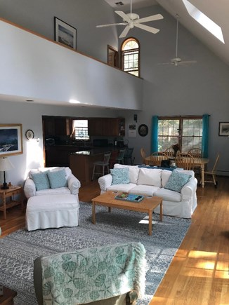 Edgartown, Dodger's Hole Martha's Vineyard vacation rental - Open living area with cathedral ceiling and skylights