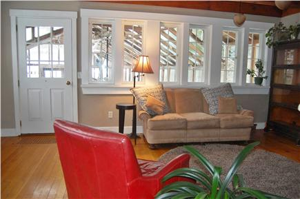 Vineyard Haven Martha's Vineyard vacation rental - Comfortable, bright living area w/fireplace opens to greenhouse