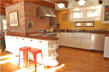 Vineyard Haven Martha's Vineyard vacation rental - Kitchen area with island seating + modern appliances.