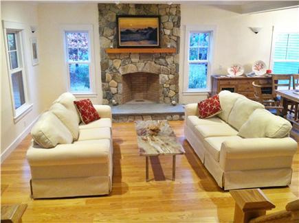 West Tisbury Martha's Vineyard vacation rental - Living room with sunbrella sofa and one sofa bed.