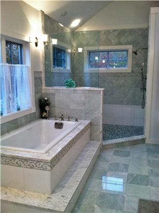 West Tisbury Martha's Vineyard vacation rental - Master bath with granite, marble and tile and open shower