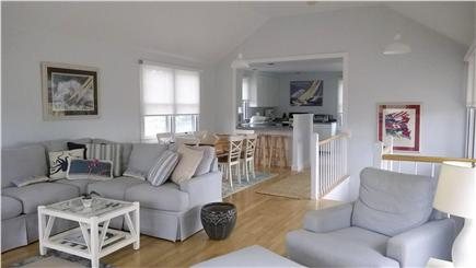 Chappaquiddick, Edgartown Martha's Vineyard vacation rental - Upstairs view of living room, dining room, kitchen