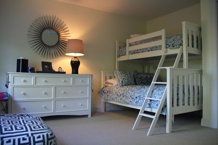 Edgartown Martha's Vineyard vacation rental - Third bedroom full size bottom bunk and twin top bunk, with bath.