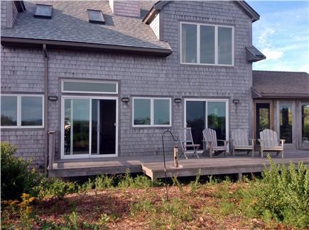 Aquinnah Martha's Vineyard vacation rental - North side of house facing Vineyard Sound - bird feeder near deck