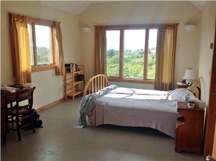 Aquinnah Martha's Vineyard vacation rental - Master bedroom with queen bed - great views of Vineyard Sound