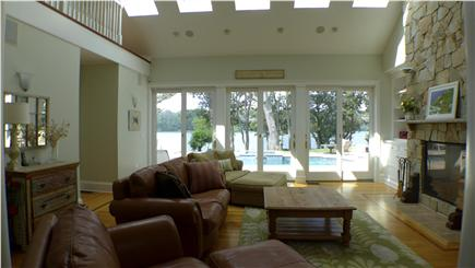 Oak Bluffs Martha's Vineyard vacation rental - Living room w/soft lighted ceiling, gas fireplace opens to pool