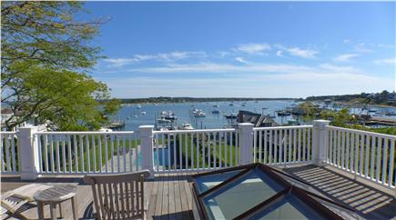 Edgartown Martha's Vineyard vacation rental - View of pool and harbor from second level wrap-around deck