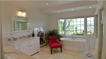 Edgartown Martha's Vineyard vacation rental - Master bath with water view