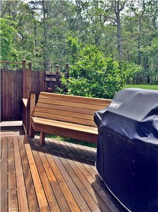 Vineyard Haven Martha's Vineyard vacation rental - Deck leading to outdoor rainshower.  Propane Weber grill.
