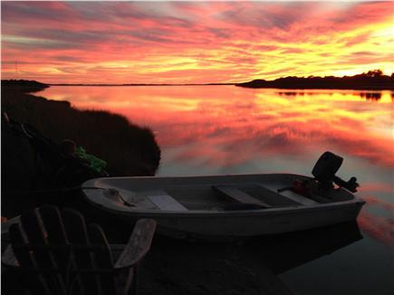 Edgartown Martha's Vineyard vacation rental - Sunset view at pond side sitting area