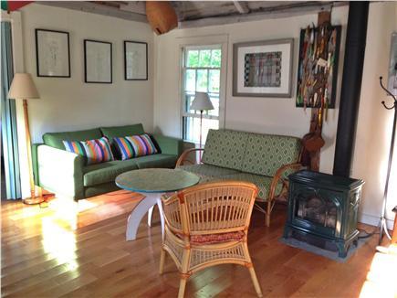 Edgartown Martha's Vineyard vacation rental - Living room with gas 'wood' stove